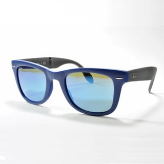 Ray-Ban Wayfarer Folding Classic Sunglasses 54mm - Blue Frame/Blue Mirror Lens