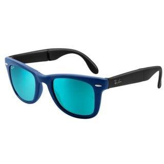 Ray-Ban Wayfarer Folding Classic Sunglasses 54mm - Blue Frame/Blue Mirror Lens