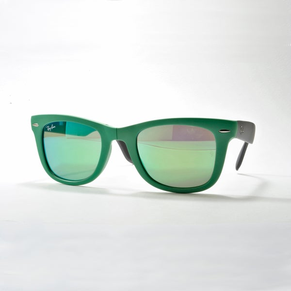 Ray-Ban Wayfarer Folding Classic Sunglasses 54mm - Green Frame/Green Mirror Lens