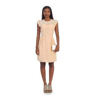 Hadari Women's Beige Triple-bow Cap Sleeve Dress