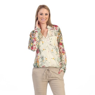 Hadari Women's Ivory Floral Button-up Blouse