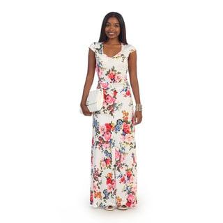 Hadari Women's White Floral Print Maxi Dress