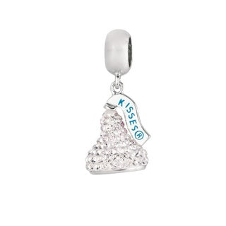 Sterling Silver White Austrian Crystal Small 3D Hershey's Kiss Dangle Bead