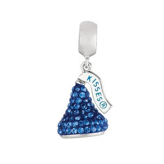 Sterling Silver Sapphire Blue Austrian Crystals Small 3D Hershey's Kiss Dangle Bead