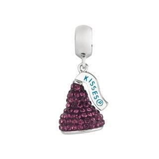 Sterling Silver Purple Austrian Crystal Small 3D Hershey's Kiss Dangle Bead