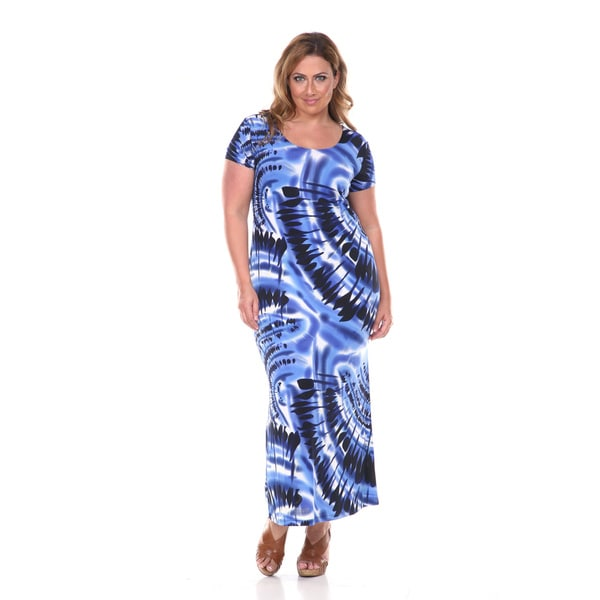 White Mark Women's Plus Tie-dye Maxi Dress