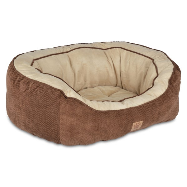 "SnooZZy Chocolate Chevron Texture Daydreamer Bolster Pet Bed (Chocolate/32"")(As Is Item)"