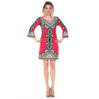 White Mark Women's Red and Blue Printed Bell-sleeve Dress