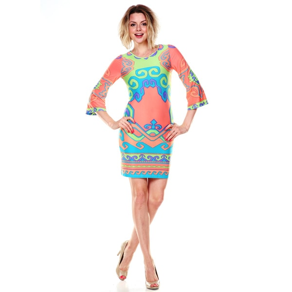 White Mark Women's Coral and Lime Printed Bell-sleeve Dress