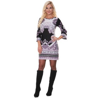 White Mark Women's Tri-color Printed Bell-sleeve Dress