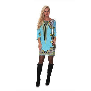 White Mark Women's Teal and Yellow Printed Bell-sleeve Dress
