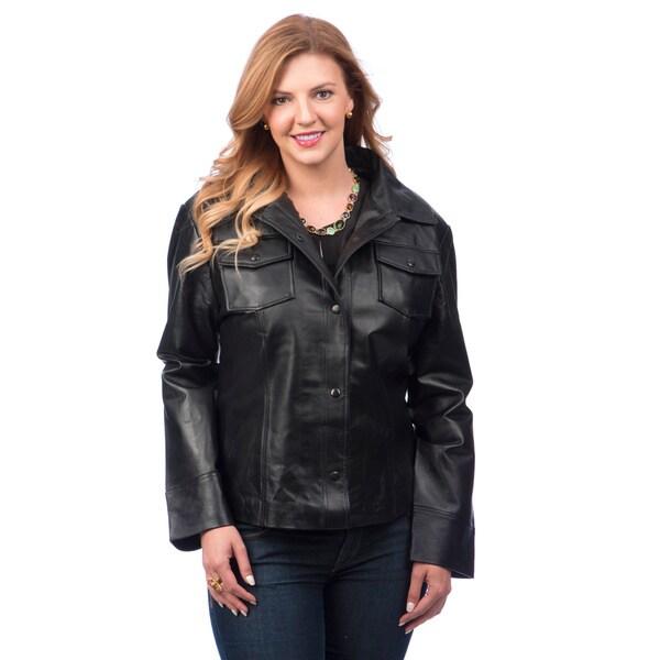 Women's Plus size Genuine Leather Button-snap Jacket