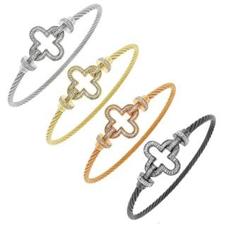 Gioelli Stainless Steel 1/8ct TDW Diamond Clover Motif Slip-on Bangle (H-I, I2-I3)
