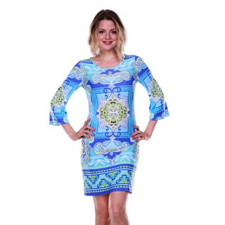 White Mark Women's Blue and Green Printed Bell-sleeve Dress