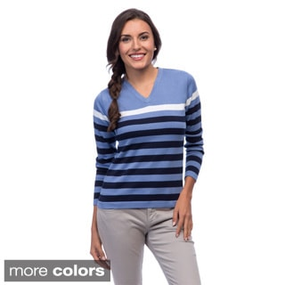 Women's Striped V-neck Pima Cotton Sweater