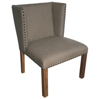 Jeanne Hand-woven Linen/ Walnut Accent Chairs (Set of 2)