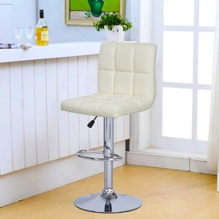 Adeco Cream Leatherette Faux Tufted Adjustable Barstool with Chrome Finish and Pedestal Base (Set of 2)