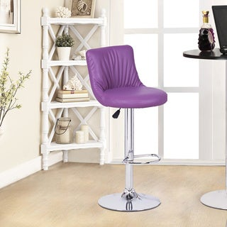 Adeco Purple Hydraulic Lift Adjustable Puckered Leatherette Barstool Chair with Chrome Finished Pedestal Base (Set of 2)