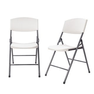Adeco Sturdy Easy-to-Store White Plastic Flat Folding Chair with Grey Steel Legs (Set of 2)