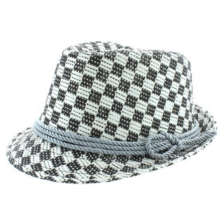 Faddism Men's Black/ White Plaid Fashion Fedora