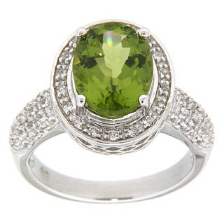 Pearlz Ocean Sterling Silver Peridot and White Topaz Silver Ring