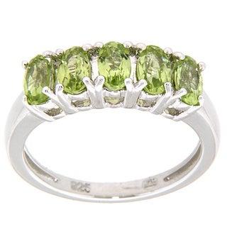 Pearlz Ocean Sterling Silver Five-stone Peridot Ring
