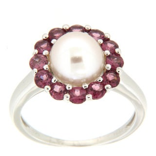 Pearlz Ocean White Freshwater Pearl and Rhodolite Ring (7-8 mm)