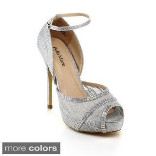 BellaMarie Women's 'Helena-20' Lace and Rhinestone Heels