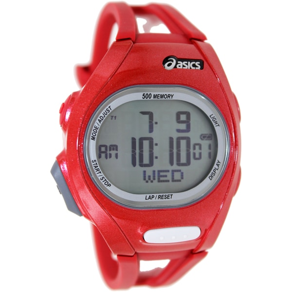 Asics Men's Race CQAR0203 Red Polyurethane Quartz Watch with Digital Dial
