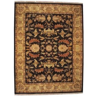 Herat Oriental Indo Hand-knotted Mahal Brown/ Gold Wool Rug (9'3 x 12'2)