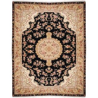 Herat Oriental Indo Hand-knotted Tabriz Black/ Beige Wool and Silk Rug (9'9 x 12'6)