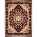 Herat Oriental Indo Hand-knotted Tabriz Red/ Navy Wool and Silk Rug (9'3 x 12'1)
