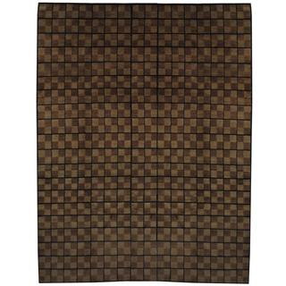 Herat Oriental Indo Hand-knotted Tibetan Tan/ Brown Wool Rug (8'9 x 11'7)