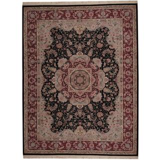 Herat Oriental Indo Hand-knotted Tabriz Black/ Red Wool and Silk Rug (9'2 x 11'10)