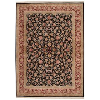 Herat Oriental Indo Hand-knotted Tabriz Black/ Red Wool and Silk Rug (8'5 x 11'9)