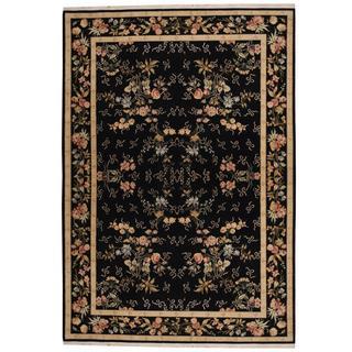 Herat Oriental Indo Hand-knotted Tabriz Black/ Beige Wool and Silk Rug (8'7 x 11'7)