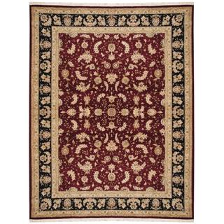 Herat Oriental Indo Hand-knotted Tabriz Red/ Black Wool and Silk Rug (9'1 x 11'9)