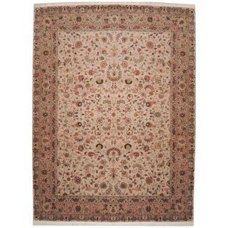 Herat Oriental Indo Hand-knotted Tabriz Beige/ Salmon Wool and Silk Rug (9' x 12'1)