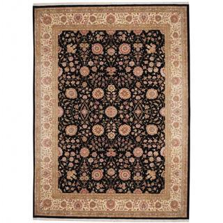 Herat Oriental Indo Hand-knotted Tabriz Black/ Beige Wool and Silk Rug (9' x 12'4)
