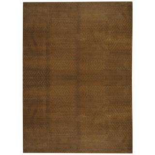 Herat Oriental Indo Hand-knotted Tibetan Gold/ Tan Wool and Silk Rug (8'10 x 11'9)
