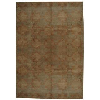 Herat Oriental Indo Hand-knotted Tibetan Tan/ Copper Wool Rug (9' x 12')