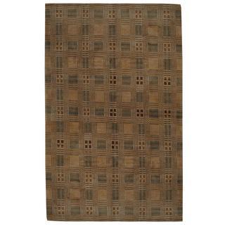 Herat Oriental Indo Hand-knotted Tibetan Tan/ Green Wool Rug (8'10 x 11'10)