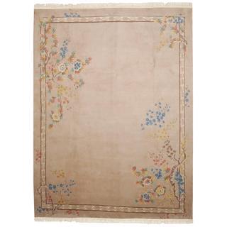 Herat Oriental Indo Hand-knotted Aubusson Beige/ Brown Wool Rug (8'10 x 11'9)