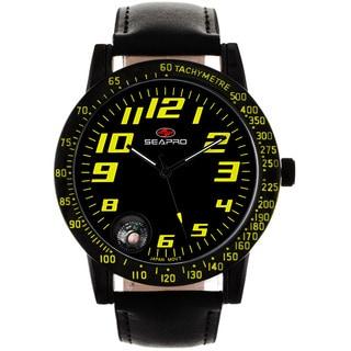 Seapro Men's Raceway Black Leather Watch