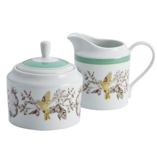 BonJour Dinnerware Fruitful Nectar Print Porcelain Sugar and Creamer Set