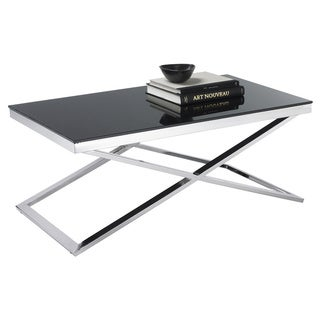 Sunpan Barrett Black Tempered Glass Coffee Table