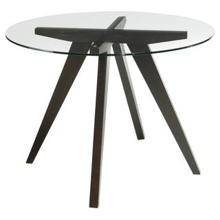 Sunpan Apollo Round Espresso Wood/ Glass Dining Table
