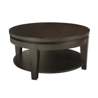 Sunpan Asia Espresso Round Coffee Table with Shelf