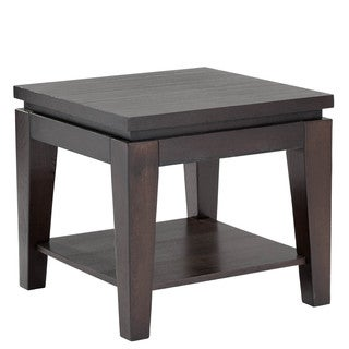 Sunpan Asia Square Espresso End Table with Shelf
