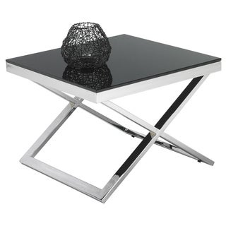 Sunpan Barrett Black Tempered Glass End Table